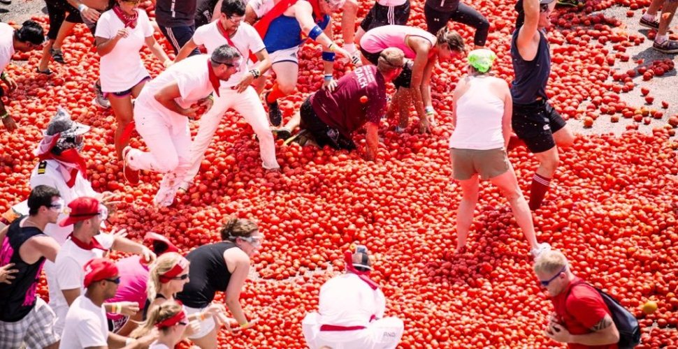 La Tomatina - Spanish Festival with Squeezed Tomatoes